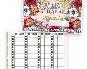 52 Weeks Savings Tracker Notes Page Kit- Planner Stickers
