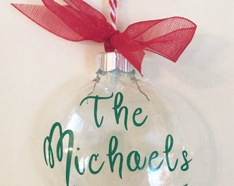 Ornament Christmas Tree Holiday Glass Custom Personalize Gift memory made to order name date color special holiday wedding baby 1st scrooge