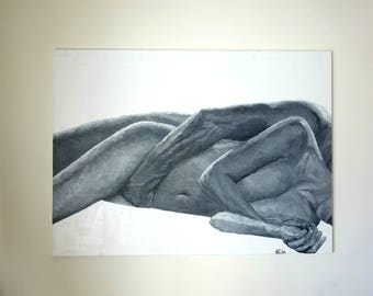 Nude Couple Painting Art Original Portrait Canvas Erotic Nude Lovers In Bed Painting Female Nude Hands Cuddle Cuddling Acrylic Figure