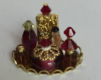Miniature Dollhouse 1:12 Scale Vanity Perfume Tray in Red and Amber