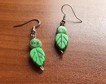 Green Leaf Fishhook Earrings
