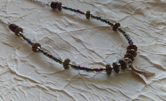 Angel Wings Beaded Chain Necklace Colourful Glass Seed Beads Tibetan Silver Bronze Beads Spiritual Fine Stainless Chain