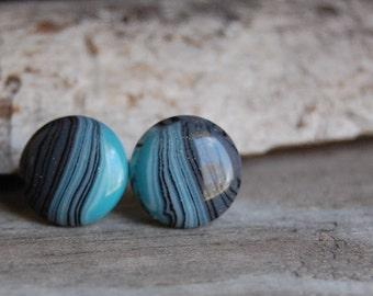 Blue Toned Waves Stud Earrings