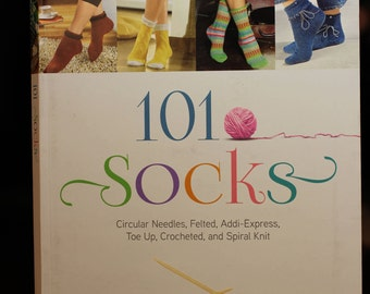 101 Socks:  book shows crochet and knit patterns for socks.