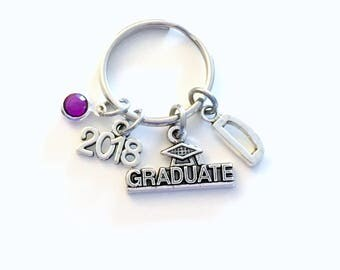 Graduation Gift for Her Keychain, Graduate Key Chain, Grad Keyring Jewelry 2018 Initial Birthstone present women Congratulation Teen girl