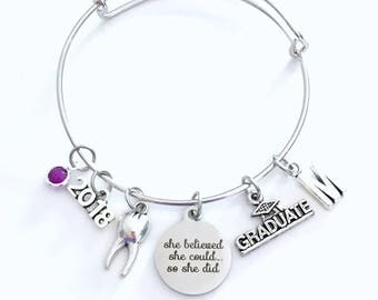 Dental Graduation Bracelet Dentist Gift for DDS 2018 Hygienist RDH DH Surgeon Orthodontist Silver Jewelry Personalized Initial 2019 her lady
