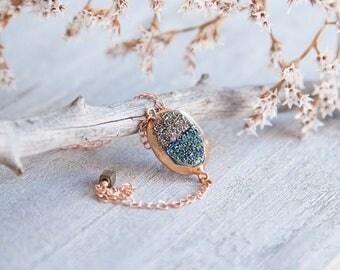 Druzy Rose Gold Bracelet, Boho Druzy Bracelet, Druzy Stacking Bracelet, Druzy Bracelet, Rose Gold Bracelet, Rose Gold Druzy Bracelet