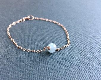 Aquamarine Bracelet, Dainty Minimal Single Layering Gemstone Bracelet Aquamarine Jewelry, March Birthstone, Rose Gold Filled Sterling Silver