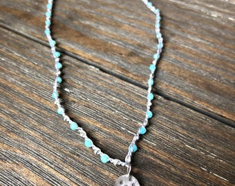 Crochet Beaded Boho Necklace •• Light blue beads with tiny silver beads and Hill Tribe silver pendant