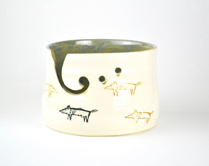 Fox and tree large handmade ceramic pottery yarn bowl