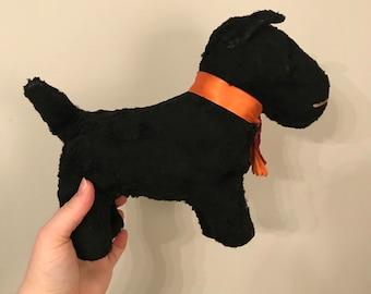1940s Black Scottie plush dog-straw filled