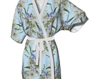 Wildflower Kimono Robe - Bridal Robe, Dressing Gown, Something Blue, Short Robe, Short Kimono, Queen Anne's Lace, Floral Kimono, Floral Robe