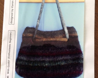 SheepStrings Felted Purse, felted wool purse, drawstring purse, wool purse, knitted purse, wool felting,