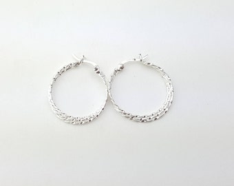 Vintage Sterling Silver Triple Tier Overlapping Cascade Hoop Earrings