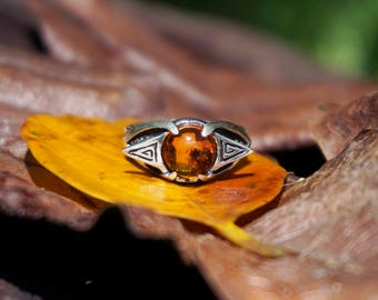 """Silver Amber Ring """"Delta""""-Sterling Silver 925 Ring-Amber Ring-Yellow Stone Ring-Silver Ring-Gift For Her-Statement Ring-Amber Jewelry"""