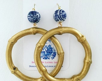 GOLD Chinoiserie Bamboo Earrings | blue and white, round, hoops, gold, dangle, statement earrings