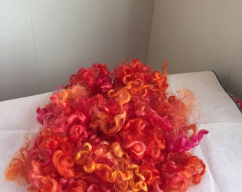 Rare Breed Wensleydale Sheep Hand Dyed Curly Wool Locks 1.75 oz for Spinning, Rug Hooking, Doll Hair, Weaving