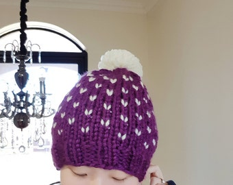 Chunky Pom Pom Hat in Purple and white - Fair isle