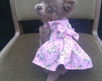 Dog Clothes - Chihuahua Clothes - Chihuahua Dress - Dog Dress - Small Dog Clothes - Harness Coat - Chihuahua - Dog - Unicorn - Unicorns