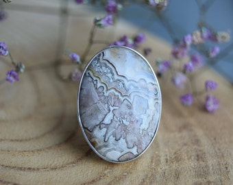 Big Crazy Lace Agate Ring, Sterling Silver Ring, Boho Ring, Gift for women, Agate ring Size 8.5, Agate Jewelry, Gemstone Ring, Crazy Lace