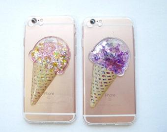 Ice Cream iPhone case iPhone 7 liquid glitter pink purple dessert cone pretty cute cool silicone clear transparent yummy food