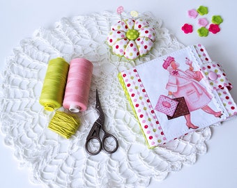 Tilda pink sewing holder fabric needle book colorful polka dots caddy cross stitch case green felted needle book scissors case travel kit