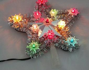 Vintage Tree Topper - Silver Tinsel Star Tree Topper - Light Up Christmas Tree Topper - 11 Lite Star Tree Top - Single Flashing Tree Topper