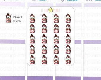 Mimi Hand Drawn | Popcorn, Movie time | Planner Stickers