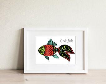 Goldfish Art Print, Goldfish Art, Fish Art, Fish Print, Fish Drawing, Ocean Art, Bright Kids Art, Nautical Art, Kids Art, Kids Prints