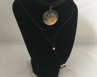 Women's jewellery - Beautiful Venezuelan Flag golden Pendant Choker. FREE Luxurious Gift Box - Women Necklace. Gift for a Venezuelan lover