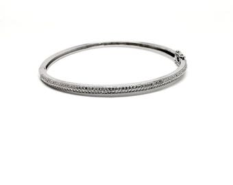 Women jewellery Italian Clear 925 Sterling Silver with Crystals Bangle Bracelet. Luxurious Gift Box included - 40th birthday gifts