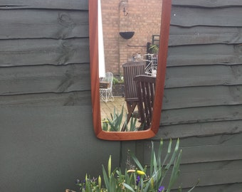 "Vintage 1960's Danish Style mirror with teak wood surround, Retro Mirror, Wall hanging mirror, 31"" Tall x 14"" Top and 11"" bottom wide"