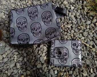 small clutch faux leather skull zipped, makeup, anything you want