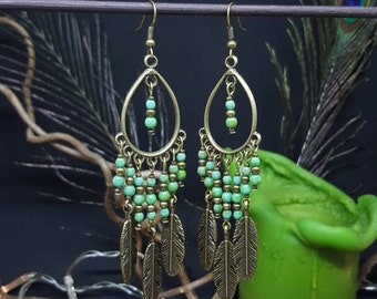 Earrings Green Bohemian - Czech beads - feathers - ethnic - Bohemian - nature