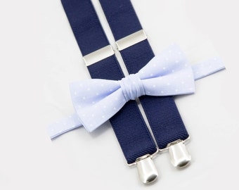 Bow Tie And Suspenders For Groomsmen, Light Blue Polka Dots Bow Tie & Navy Suspenders, Ring Bearer Outfit