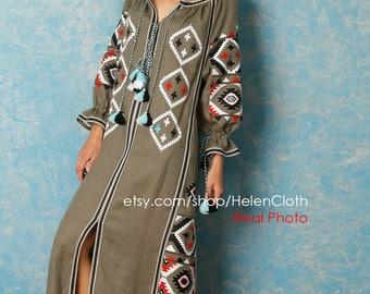 Ukrainian Vyshyvanka Dress Boho Style Linen Maxi Embroidered Dress Vyshyvanka Mexican Dress. Kaftan, Abaya. Free shipping