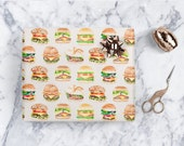 Burger Gift Wrapping Sheets, Christmas Gift Wrap, Funny Art
