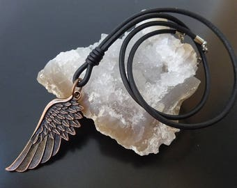Angel Wing Necklace, wing necklace, Leather Wing Necklace, Mens leather necklace, mens leather cord necklace, Leather Wing Surfer Necklace