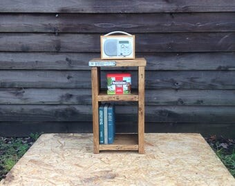 reclaimed wood bedside table small shelving unit handmade from lovely reclaimed scaffold boards