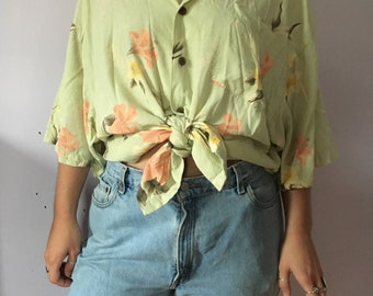 vintage hawaiian honeydew pastel green floral flowers leaves oversize shirt size XL XXL