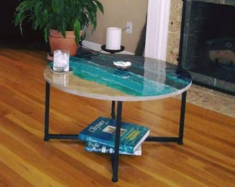 "Seascape abstract painting resin table, round resin coffee table, 31"" diameter x16"" high, epoxy table"