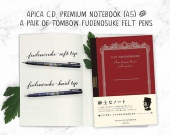 Hand Brush Lettering Set Tombow Fude Pens & Japan Notebook Japanese notebook practice Graph grid notebook Japan Calligraphy practice sheets