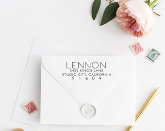 Custom Return Address Stamp, Self Ink Return Address Stamp, Personalized Address Stamp, Calligraphy Address Stamp Return Address Stamp No60