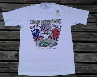 "Deadstock 1989 Super Bowl XXV ""Silver Anniversary"" New York Giants vs. Buffalo Bills 1991 white t-shirt Made in USA large Logo 7"