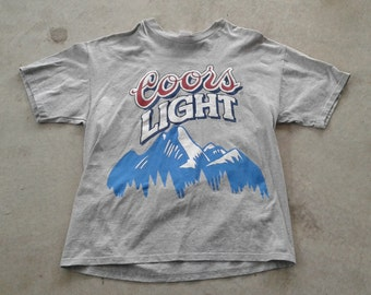 Vintage 90's DEADSTOCK Coors Light Huge Print tri-blend t-shirt Made in Canada XL