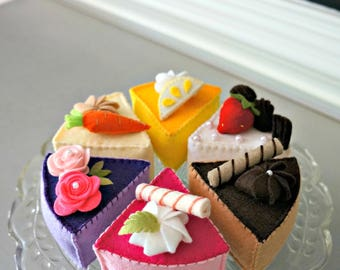 Felt Cake Tea Party Collection 6 PC Set-Felt Food Pretend Play Tea Party