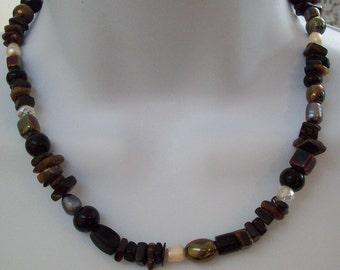 Multi Gemstone Necklace Pearls Crystals Gemstones