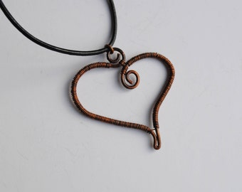 Romantic gift, bespoke wire wrapped heart pendant on leather thong, antique bronze wire heart pendant, Valentine day gift