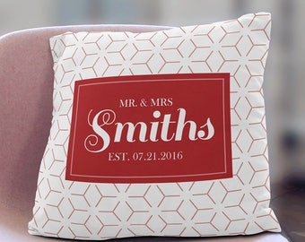 Family Name Pillow with Established Date, Christmas Gift, Wedding Gift, Housewarming Gift, Decorative Pillow, Home Decor Pillow Personalized
