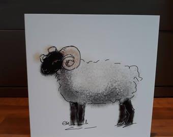 Sheep card // sheep gifts // sheep art // sheep birthday card // sheep greetings card // ram card // sheep art // sheep painting